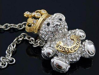 JuicyCouture Diamond Teddy Bear Necklace