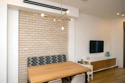 Brick wall background to dining area