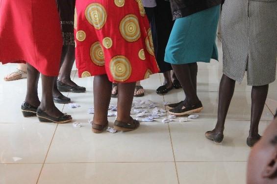 Women dancing on paper