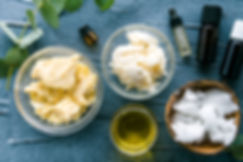 diy body butter with ingredients on conc