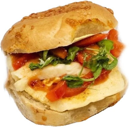 Halloumi, Red Pepper & Rocket Bagel