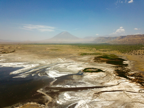 Lake Natron with on the background the still active vulcano 'Ol Doinyo Lengai'.