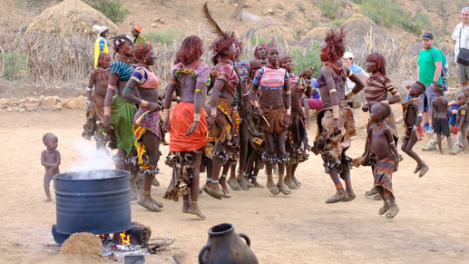 Hamar women dancing during the bull jump ceremony.