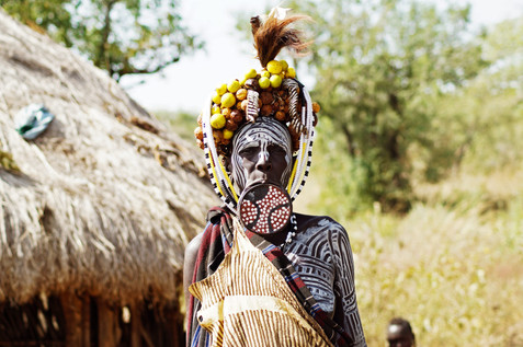 Mursi Tribe fully dressed up.
