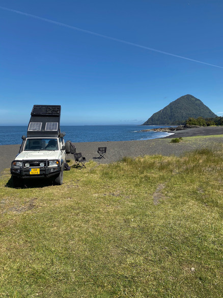 Our wildcamp spot. In the sea swim dolphins and seals.