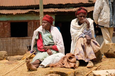Old ladies enjoying their visit on the market.