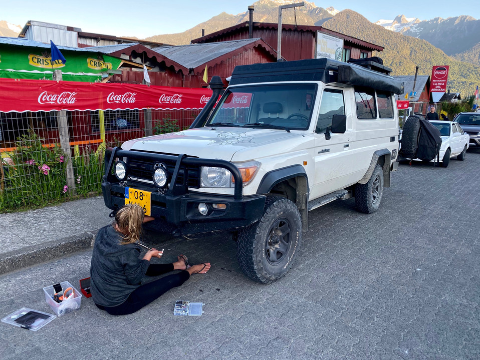 While traveling on corrigated roads it's important to check your car occassionaly. This is how I found out that our rockguard was loose.