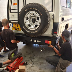Our First project. We will change the current bumper for a Gobi-X Rear Bumper with dual wheel carrier.