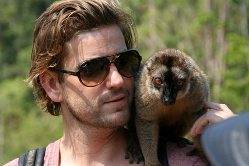 Chris with a Brown Lemur.