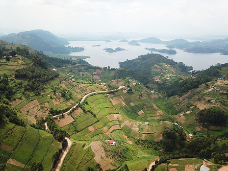 What an incredibly beautiful view. In the distance there are 3 active volcanoes. This place is totally not touristy and is very accessible. If you are going to visit Uganda, I will not skip this.