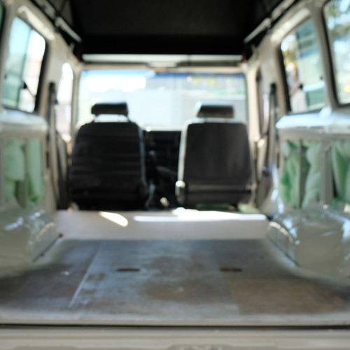 Back at Creative Caravan Worx to finaliz our car. Here you will see that we add lagging.