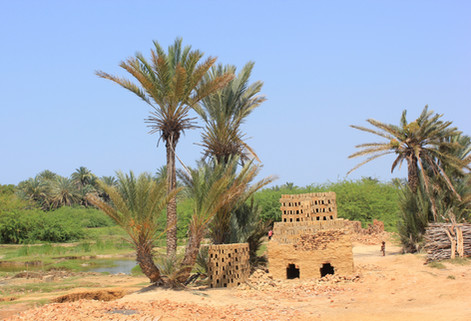 Traditional brick making nearby Tulear.