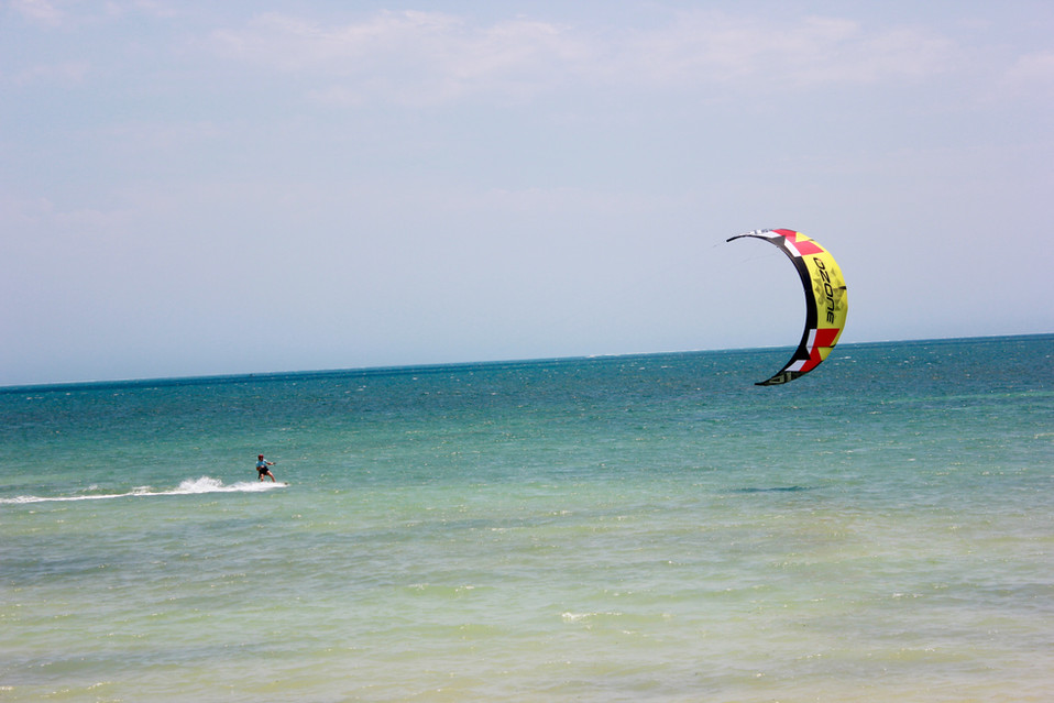 best spot to pack your things and start kiting. The water is warm and shallow for hundreds of meters.