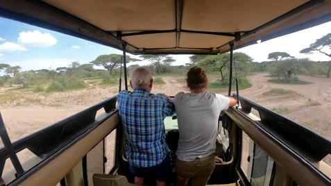 Father and son on safari.