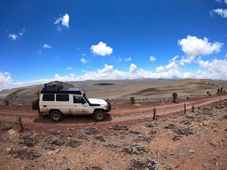 We have reached the second highest point of Ethiopia.  4.377 meters @ Bale National Park.