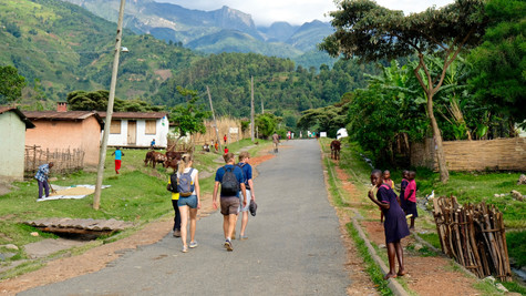 Start our day hike in the local village