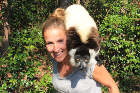Inge with a Black and White Ruffed lemur.