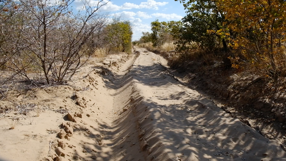 With our faithfull car, we do not have to worry about getting stuck with this kind of sandy roads.