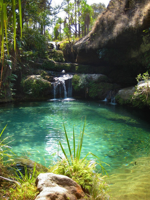 After a hike of 5 hours in the sun we found this beautiful oase. Time to get rest and a dive in a natural pool.