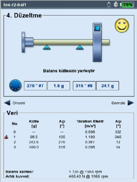 balans düzeltme ekranı