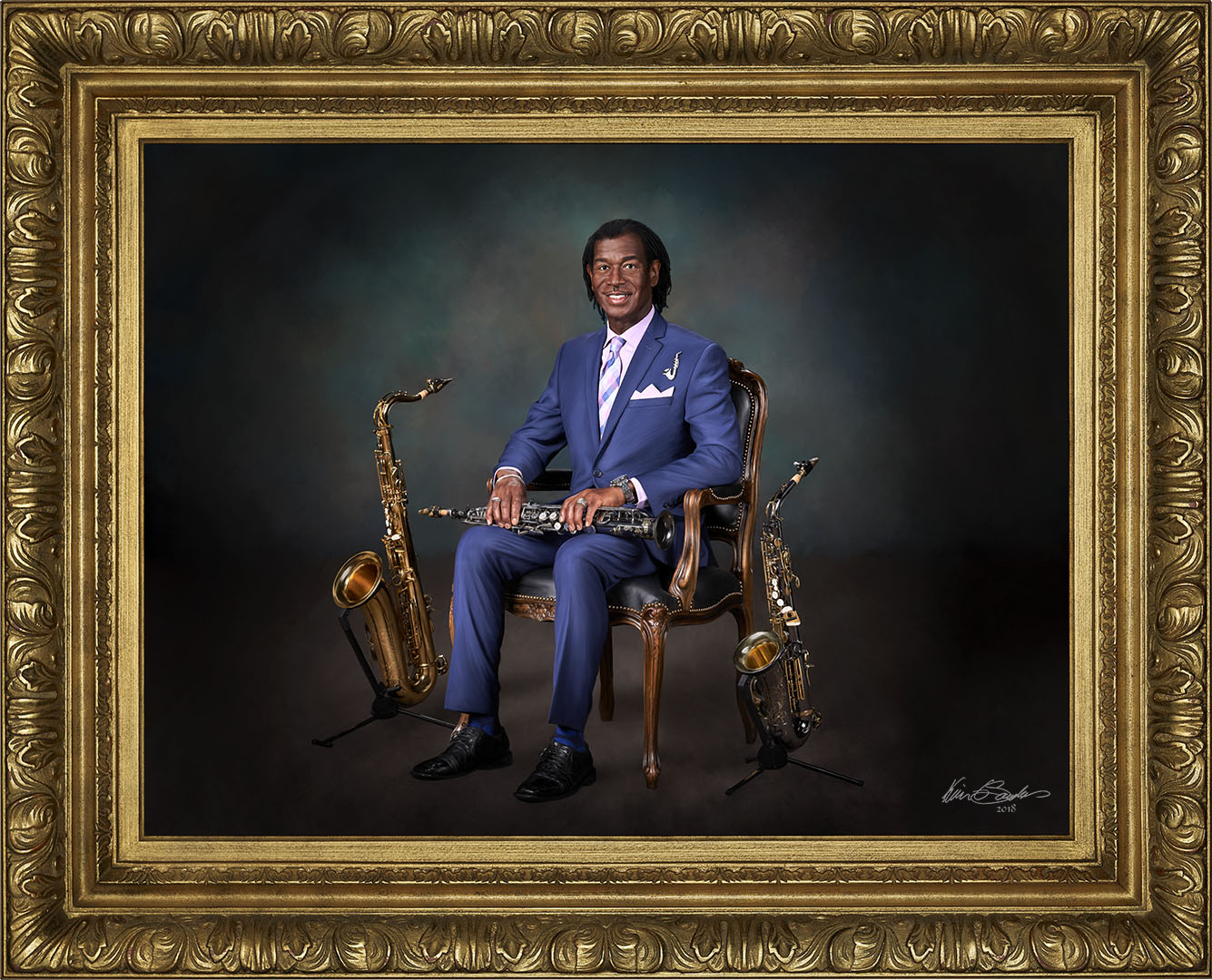 Christopher with Saxes Signature Portrai