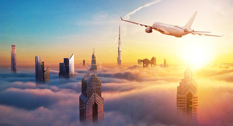 Private Jet over Dubai bringing Kevin G Saunders to visit