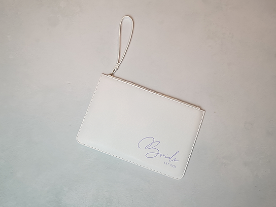 White Faux Leather Bridal Clutch
