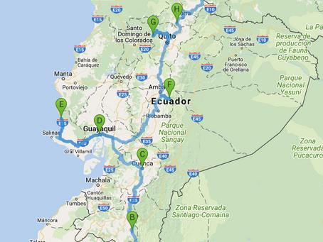 Meine Reiseroute durch Ecuador