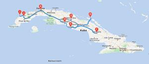 Reiseroute Kuba