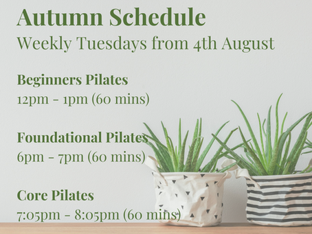 Virtual Pilates Classes this Autumn