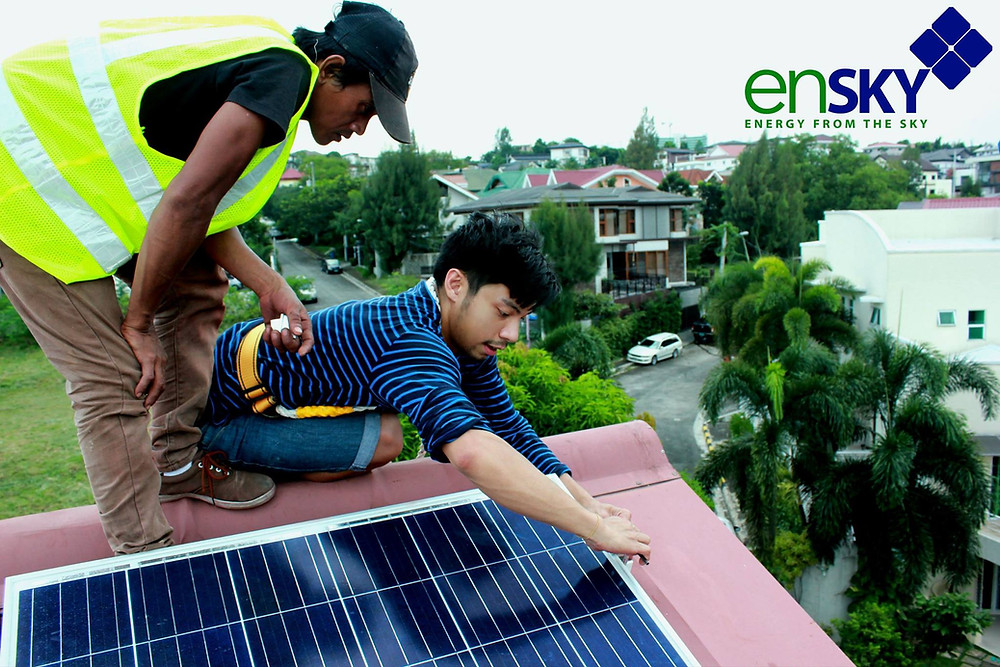 Solar Installation conducted for teaching labor workers on mounting with railing kits