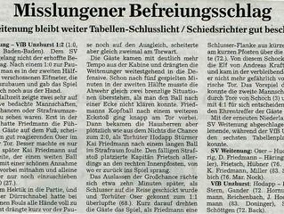 //Spielbericht Herren SV Weitenung - VfB Unzhurst 1:2//
