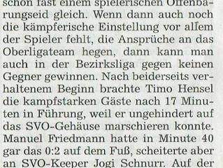 //Spielbericht Herren SV Oberachern II-VfB Unzhurst 0:2//