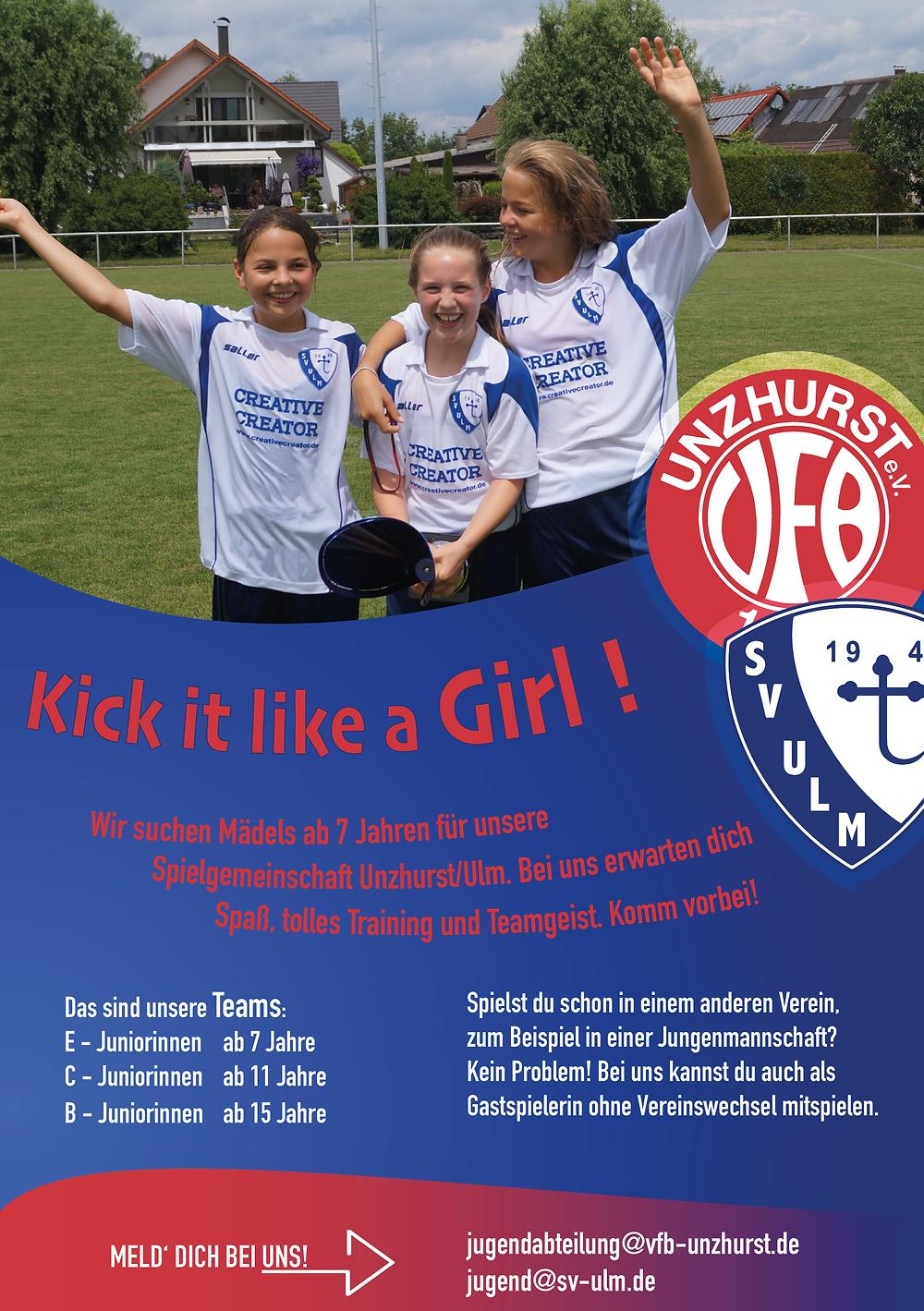 Flyer für Juniorinnen des VfB Unzhurst und SV Ulm