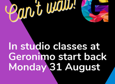 In studio classes start back from Monday 31 August