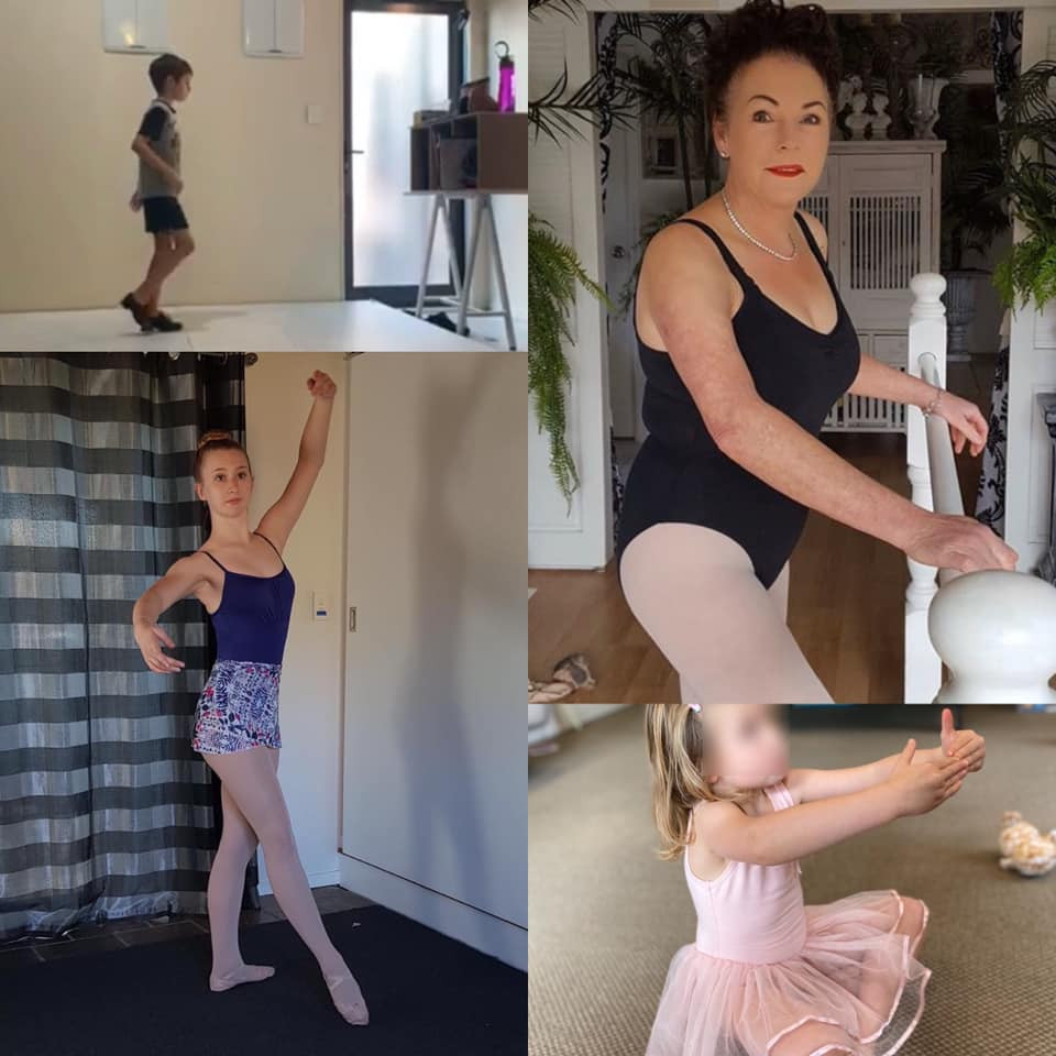 Students dance at home taking online classes with Geronimo Performing Arts teachers