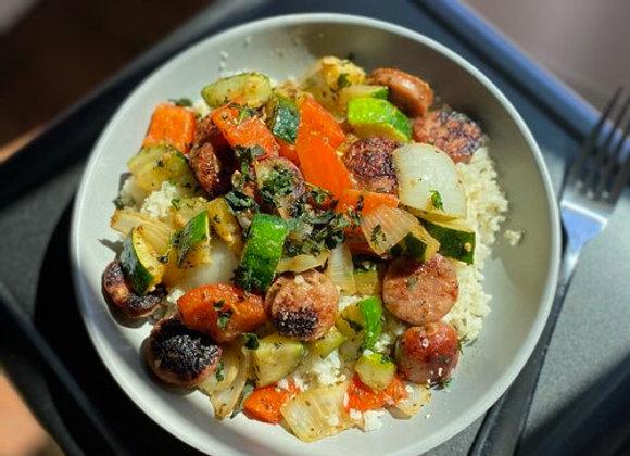 Chicken Sausage & Zucchini Hash w/ Cauliflower Rice
