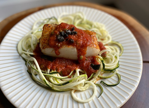 Baked Cod w/ Livornese & Zoodles