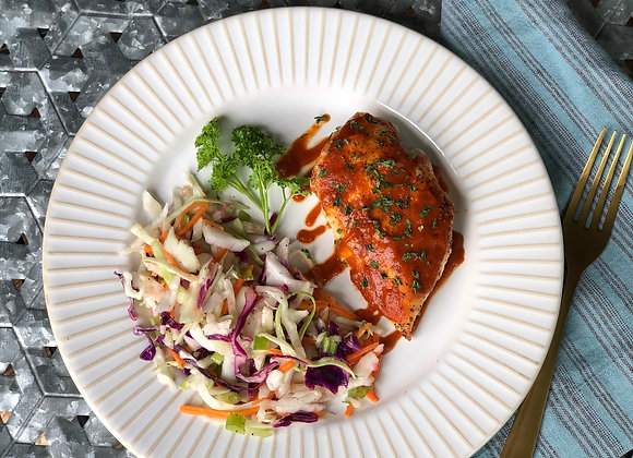 BAKED BBQ CHICKEN w/ CILANTRO-LIME SLAW