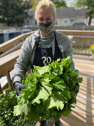 Ann with greens she harvested
