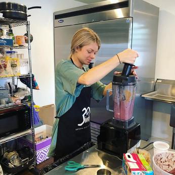 Sarah mixing Acai