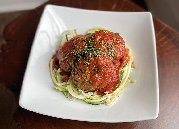 Lentil Meatless Meatballs & Zoodles