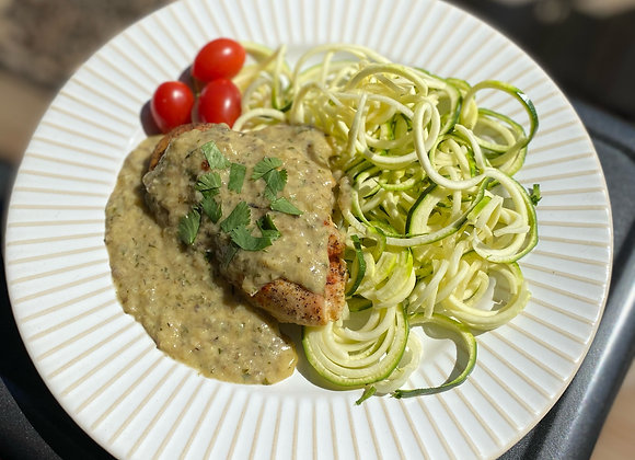 Roasted Chicken w/ Mushroom Sauce & Zoodles