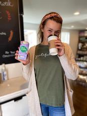 Kylie drinking her favorite Nutpods
