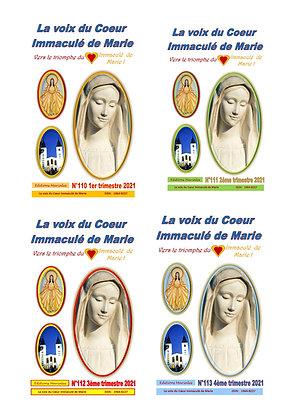 """Revue """" La voix du Coeur Immaculé de Marie"""" Abonnement 2021 à l'année"""