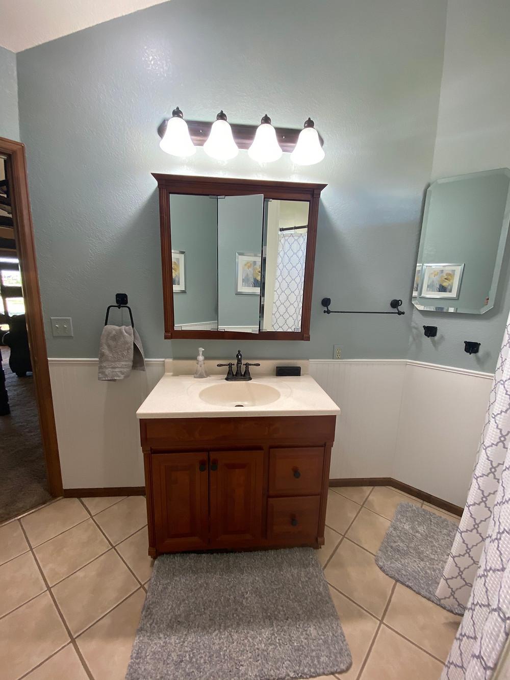 redesigned bathroom sw silvermist and alabaster