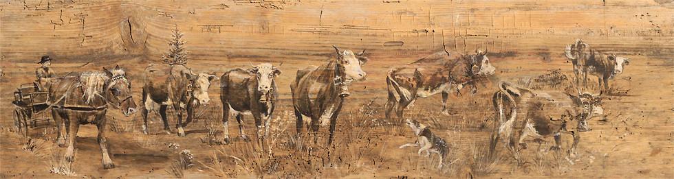 Peinture sur bois tons grisés et chocolat. Vieux bois.