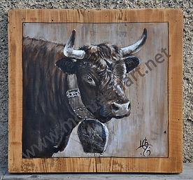 NON DISPONIBLE : portrait de vache peint