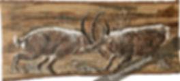 Corps à corps : affontemet de 2 bouquetins males peint sur bois