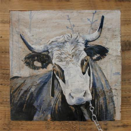 Madeleine GRISE : poster peinture de vaches recollé sur support rigide